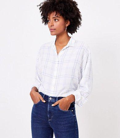 Petite Windowpane Relaxed Shirt
