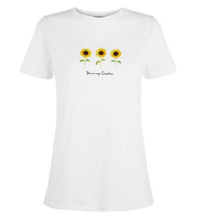 White My Sunshine Sunflower Slogan T-Shirt   New Look