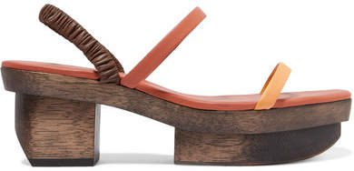Fifi Leather Platform Sandals - Orange