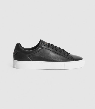 Finley Black Leather Contrast Sole Trainers – REISS