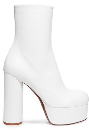 Vetements White Leather Platform Ankle Boots