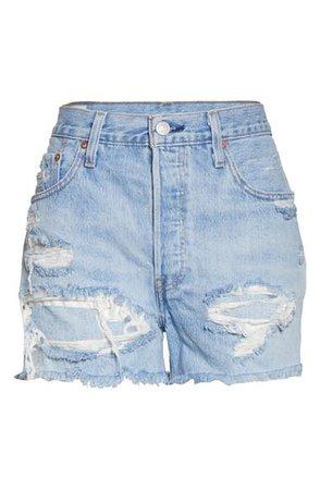 Levi's® 501® High Waist Ripped Cutoff Denim Shorts (Fault Line) | Nordstrom