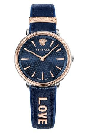 Versace Manifesto Leather Strap Watch, 38mm | Nordstrom
