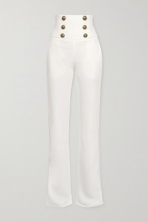 Button-embellished Crepe Wide-leg Pants - White