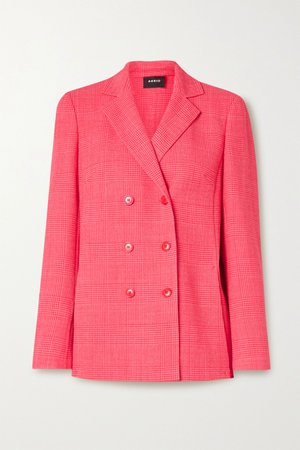 Bubblegum Double-breasted checked wool-blend blazer | Akris | NET-A-PORTER