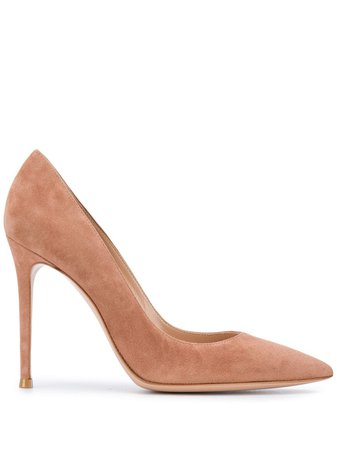 Gianvito Rossi pointed suede panel pumps - FARFETCH