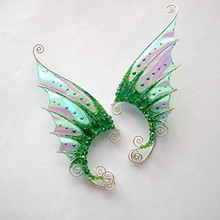 Amazon.com: Elven Ear Cuffs Fairy Ear Cuffs Cosplay Elf Ear Cuffs, Fantasy Costume Ear Cuffs, Dragon Wings Ear Cuffs, Wire Ear Cuffs Set of 1 Pair Mermaid Earrings: Handmade