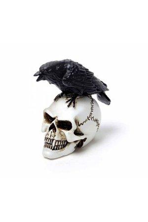 Raven & Skull Miniature Ornament by Alchemy Gothic   Gothic