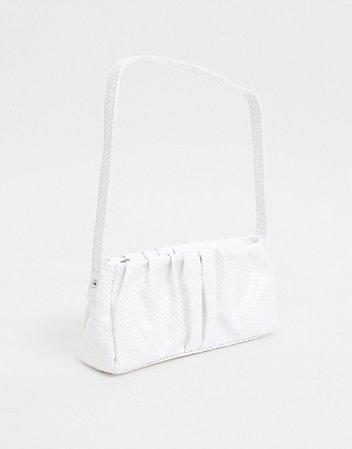 ASOS DESIGN ruched 70s shoulder bag in white snake | ASOS