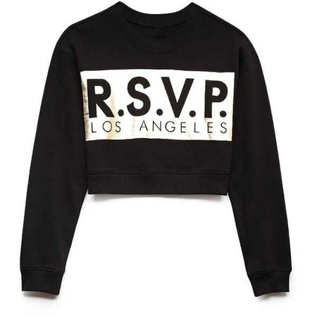 Black RSVP Gold Foil Cropped Sweater