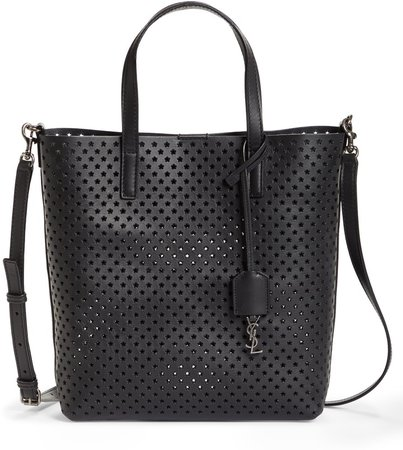 Toy North/South Star Perforated Leather Tote