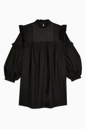 Black Pintuck Chuck on Frill Mini Dress   Topshop