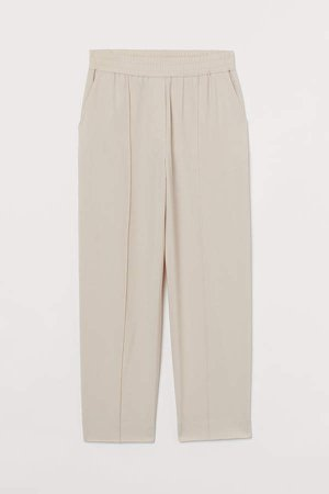 Tapered Wool-blend Dress Pants - White