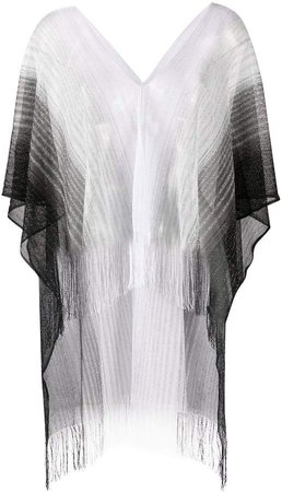 Fringed Gradient Poncho Top