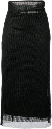 mesh panel pencil skirt