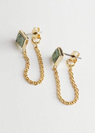 Drop Chain Stone Pendant Earrings - Green Stone - Drop earrings - & Other Stories
