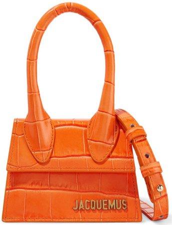 JACQUEMUS Orange Croc Mini Handbag