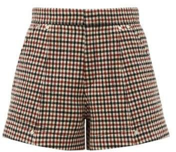 High Rise Checked Wool Blend Shorts - Womens - Beige Multi