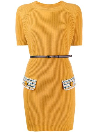Elisabetta Franchi houndstooth knit mini dress
