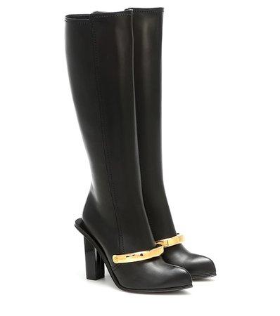 Alexander McQueen - Peak leather knee-high boots | Mytheresa