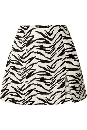 Reformation Cady zebra-print linen mini skirt