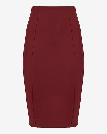 High Waisted Nylon Scuba Pencil Skirt | Express