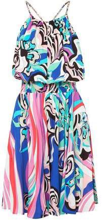 Open-back Shirred Printed Voile Mini Dress