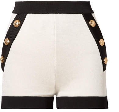 Button-embellished Two-tone Stretch-knit Shorts - White