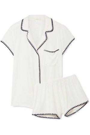 Eberjey | Frida whipstitched stretch-modal jersey pajama set | NET-A-PORTER.COM