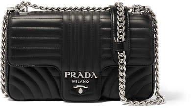 Quilted Leather Shoulder Bag - Black