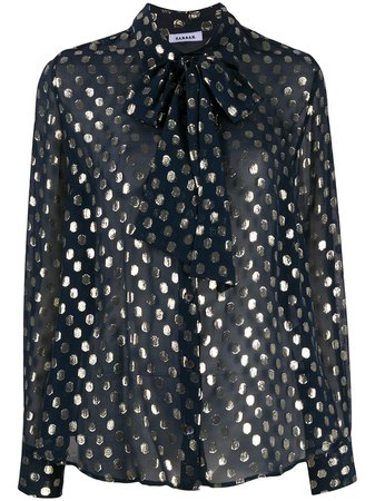 P.A.R.O.S.H. Dotted Bow Detail Blouse - Farfetch