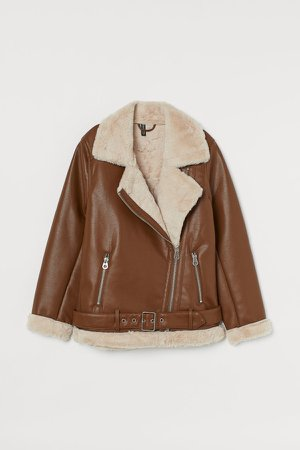 Faux Shearling-detail Jacket - Orange