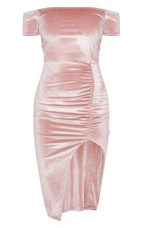 Dusty Pink Velvet Bardot Ruched Skirt Midi Dress - Wedding Guest Dresses - Dresses - from £8 - Clothing | PrettyLittleThing