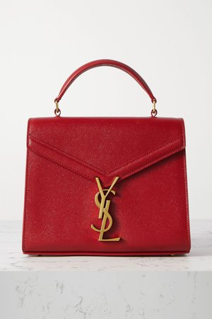 Red Cassandra mini textured-leather tote | SAINT LAURENT | NET-A-PORTER