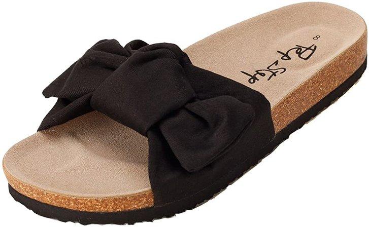 Amazon.com | PepStep Slide Sandals for Women/Cork Sole/Canvas Knot Bow/Womens Slides/Sandals for Women(6, Black) | Slides