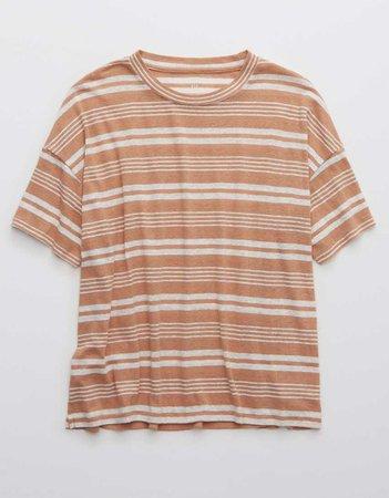 Aerie Breezy Linen Striped Distressed T-Shirt