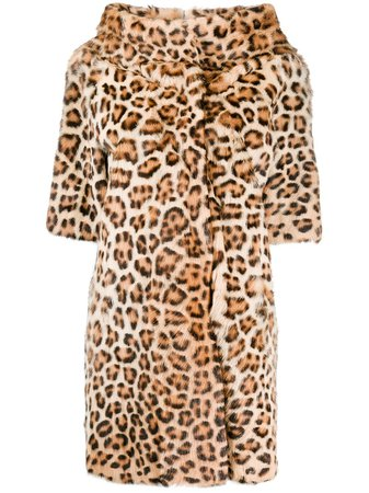 P.A.R.O.S.H. Short Sleeved Leopard Coat - Farfetch