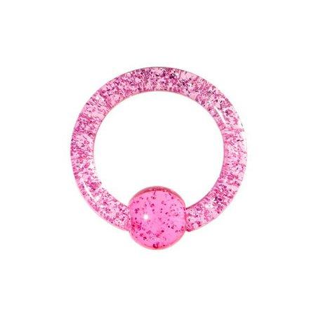 8 Gauge Pink Glitter Ball Captive Ring