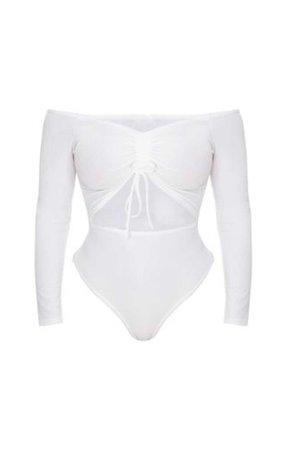 Shape White Ruched Detail Bardot Bodysuit  $25.00
