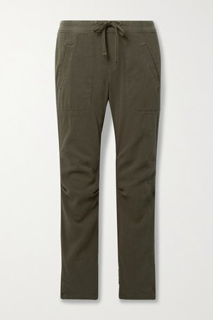 Cotton-blend Twill Track Pants - Army green