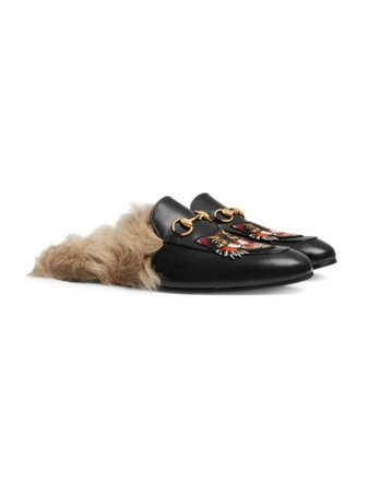 Gucci Princetown Slippers Angry Cat Appliqué ($1,033)