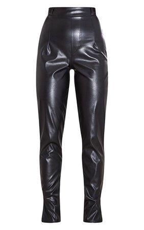 Black Faux Leather Split Hem Skinny Trouser | PrettyLittleThing