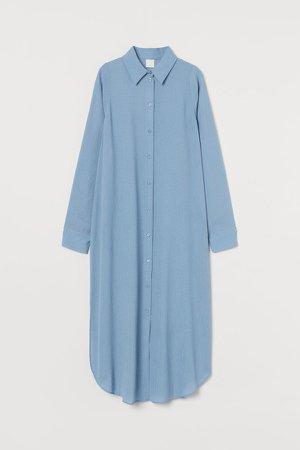Calf-length Shirt Dress - Blue