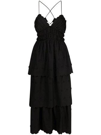 Shop Self-Portrait floral-appliquéd tiered dress with Express Delivery - FARFETCH