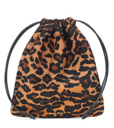 Leopard drawstring pouch