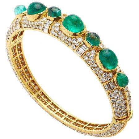 Bulgari Emerald Diamond Bangle Bracelet For Sale at 1stDibs