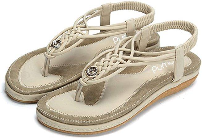 Pumoes Womens Sandals Summer Beach Flip Flops Thongs Ladies Bohemian Shoes Elastic T-Strap Flat Sandals Clip Toe