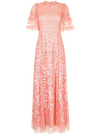 Shop pink Needle & Thread Aurelia short-sleeved gown with Express Delivery - Farfetch