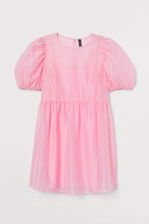 Puff-sleeved Dress - Pink