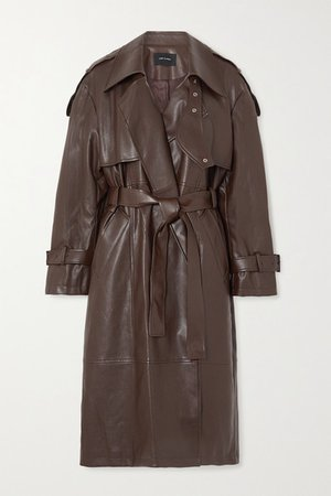 Belted Faux Leather Trench Coat - Brown